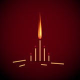 Burning Match on Red Background, Abstract Vector Merry Christmas Stock Photography