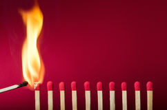 Burning match setting fire to its neighbors. A metaphor for ideas and inspiration Stock Images