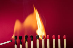 Burning match setting fire to its neighbors Royalty Free Stock Photography
