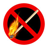 Burning match. Sign ban. Headlines with a burning match Stock Photography