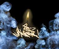 Burning match or smoke background Royalty Free Stock Photo