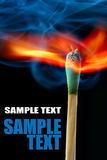 Burning match with space for text Royalty Free Stock Photo