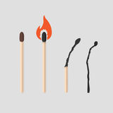 Burning match stages set. Matchstick with sulfur, burning and burned. Colorful flat vector illustration collection. Burning match stages set. Matchstick with vector illustration