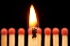 Burning match standing in front of eight red wooden matches. Burning match standing in front of defocused set of eight red wooden matches, isolated on black Stock Photography