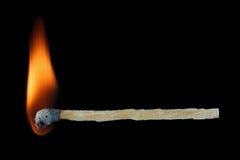 burning match stick isolated on black Stock Photography