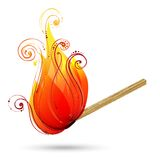 Burning match vector. Royalty Free Stock Photos