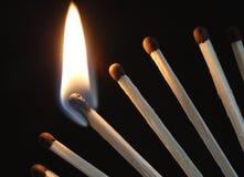 burning matches Fotografering för Bildbyråer