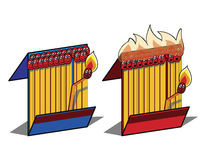 Burning matches Stock Images