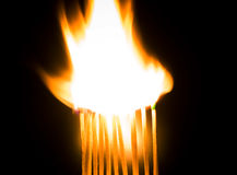 Burning matches. With a white flame Stock Images