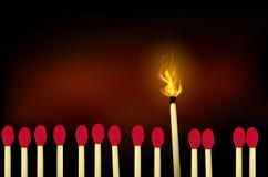 Burning matches Stock Photo