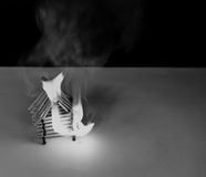 Burning matches house - games with fire ends with accident Royalty Free Stock Photos
