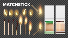 Free Burning Matches In Matchbooks, Flame Vector Set Royalty Free Stock Image - 144832416
