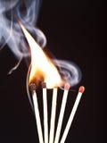 Burning matchs heads (macro) Royalty Free Stock Photo