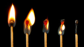 burning matchserie Royaltyfri Bild