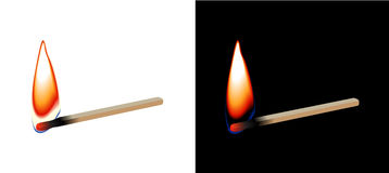 Burning matchstick. On white and black background vector illustration