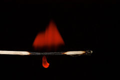 Burning matchstick  black background Stock Image