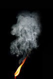Burning matchstick with smoke Royalty Free Stock Photography