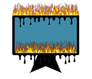 Burning melting computer. Computer monitor on fire and melting Stock Photo