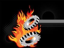 Burning metal gears Royalty Free Stock Photos