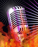Burning Microphone. True Flames and Retro Microphone Stock Images