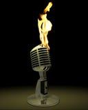burning mikrofon Arkivfoton