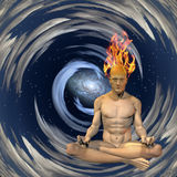 Burning mind. Meditation man with burning mind Royalty Free Stock Photos