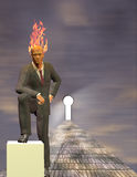 Burning Mind Businessman. Before Keyhole Stock Photos
