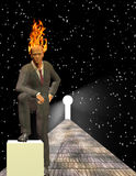 Burning Mind Businessman. Before keyhole Stock Photography