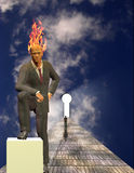 Burning Mind Businessman. With man approaching keyhole Royalty Free Stock Photography