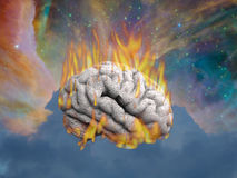 Burning Mind. In cosmic space Royalty Free Stock Photo