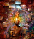 Burning mind. Man with burning head in cosmic space. Human elements were created with 3D software and are not from any actual human likenesses Stock Photo