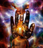 Burning mind in space. Burning mind in cosmic space Stock Images