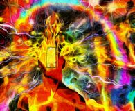 Burning mind. Surreal painting. Burning man`s head with open door instead of face and lightnings. Colorful background with rainbow. Human elements were created Stock Image