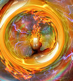 Burning mind. In vortex of fire Royalty Free Stock Photos