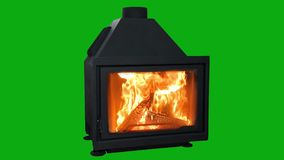 Burning modern fireplace isolated on green screen stock video