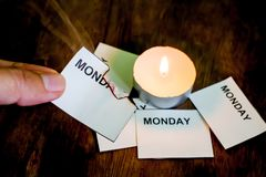 Burning Monday word on paper royalty free stock photography