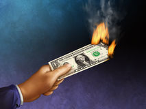 Burning money Royalty Free Stock Photography