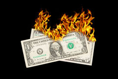 Burning money Royalty Free Stock Images