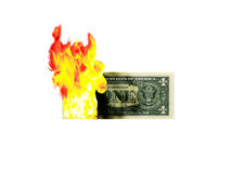 Burning Money. Depicts financial loss. Can be clipped easily Royalty Free Stock Photos