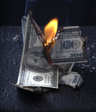 Burning of money Royalty Free Stock Photos