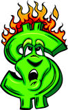 Burning Money Cartoon Face vector illustration