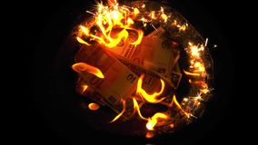 Burning Money on Fire. Financial business crisis concept stock video