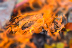 Burning of money paper and gold paper for Chinese Ghost Royalty Free Stock Images