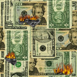 Burning money pattern Royalty Free Stock Images