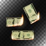 Burning money on transparent background. Stock Images