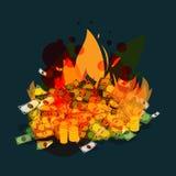 Burning money - vector Royalty Free Stock Image