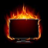 Burning monitor. Illustration for design on black background Stock Images