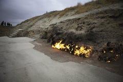 Burning mountain, Yanar Dag, Azerbaijan stock images