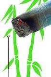 Burning moxa cigar Royalty Free Stock Images