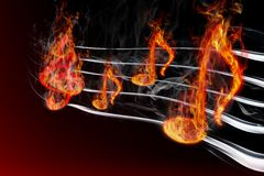 Burning music. Image of burning music on a black background Stock Photo